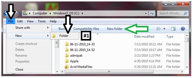 File new folder, windows new folder