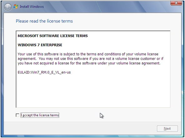 windows7 accept license